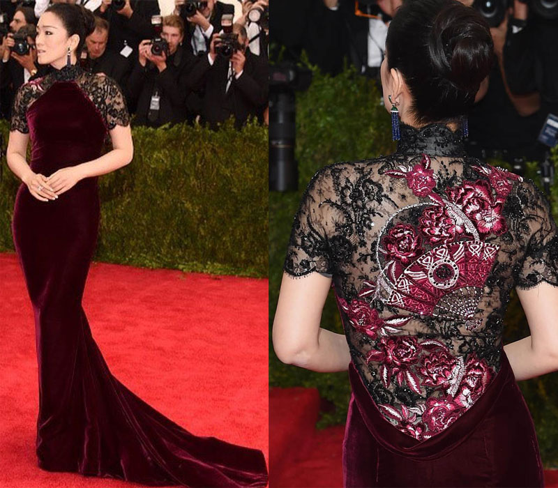 For Chinese acrtress Gong Li this event must've been an absolute breeze when it come to choosing a dress. And she certainly made the right choice by going with Roberto Cavalli. We love the use of velvet and even more than that the intricate lace back.