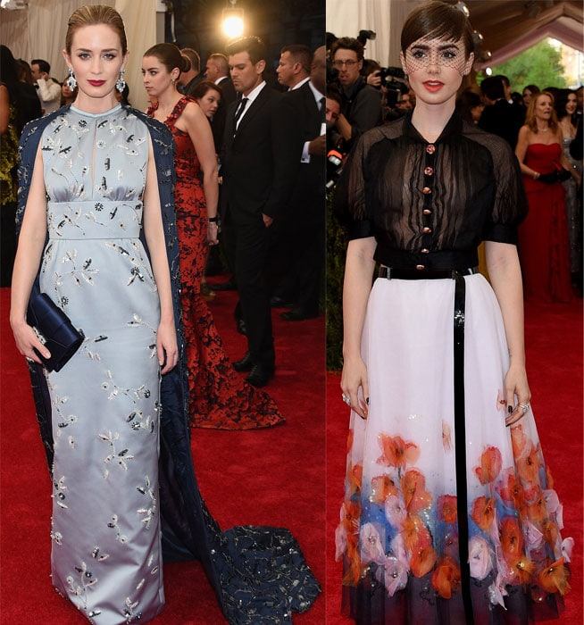 We are loving all the capes that have been on the red carpet this year so far but Emily Blunt's Prada gown is by far one of the best. The two tones of blue and the grace of a cape is just delightful. Lily Collins went for a Chanel couture look as it was won on the runway. The net over her eyes is an edgy touch but we love the skirt which looks like a watercolour painting.