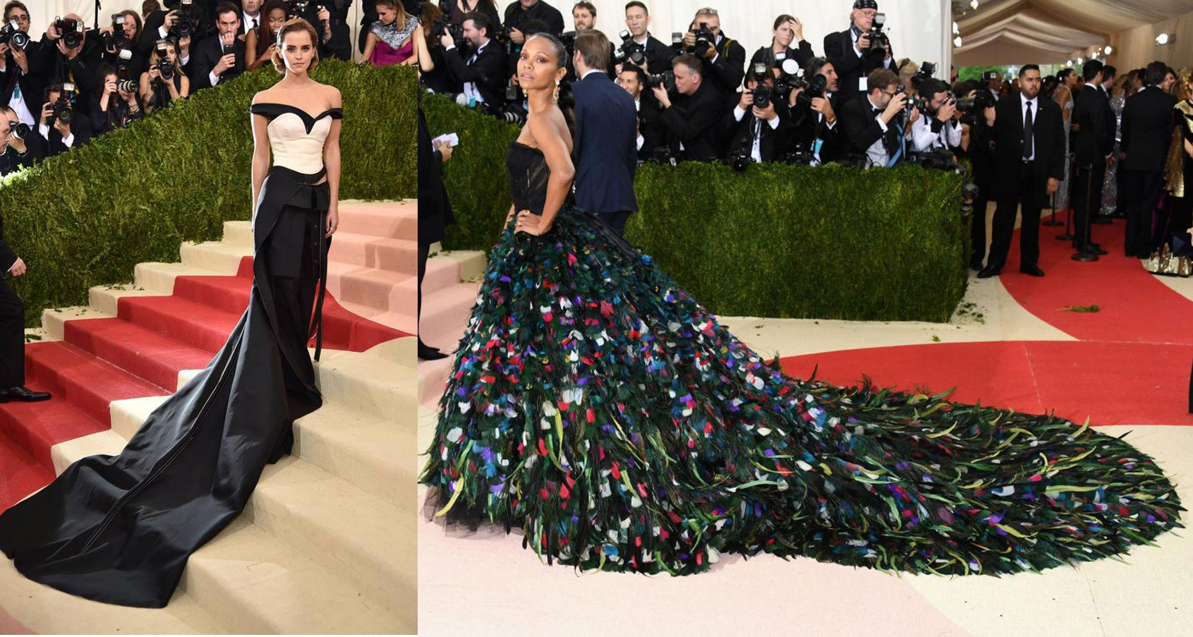 We adored Emma Watson for her Calvin Klien dress - even more special as it was made by ethical and recycled materials! Zoe Saldana brought the drama in this peacock inspired D&G gown.