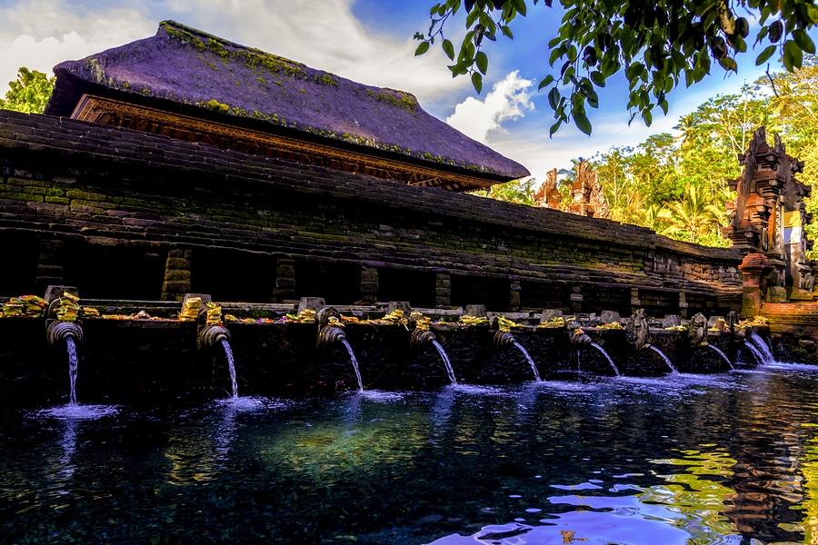 Holy Spring Water Tirta Empul Hindu Temple at Bali in Indonesia.