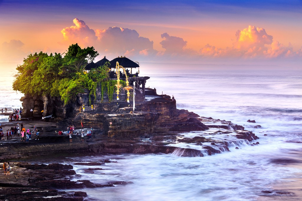 Tanah Lot Temple and ocean in Bali Island Indonesia.