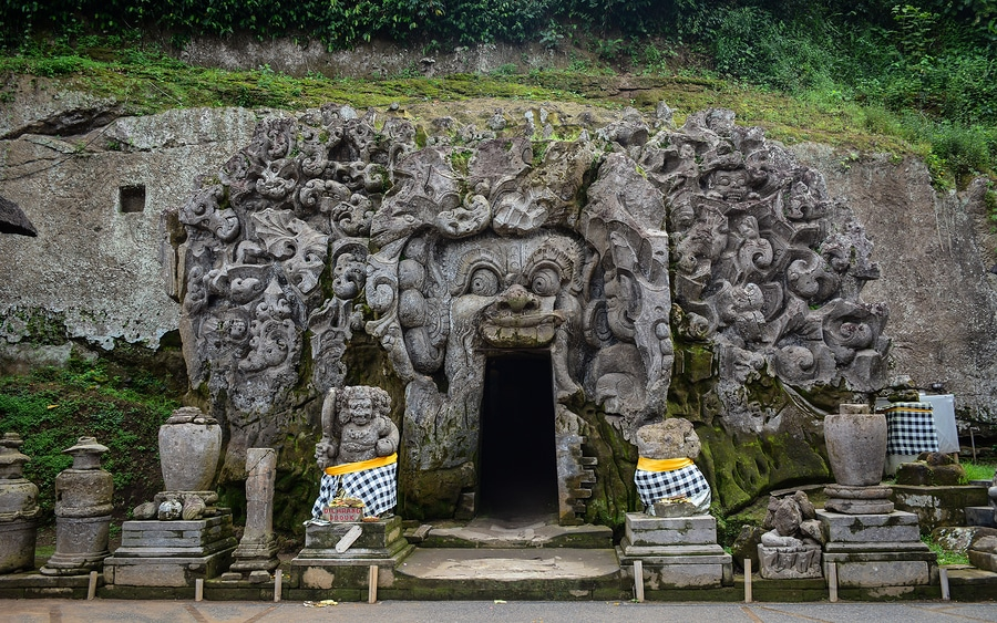 Elephant Cave Temple at Ubud Township in Bali Indonesia. Bali Indonesia is a lush island paradise famed for its art culture and recreation.